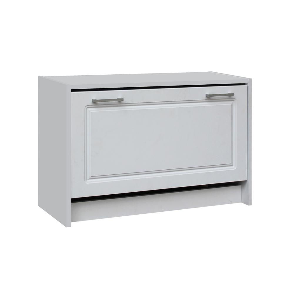 4d concepts 29 in w white single shoe cabinet 76457 the home depot - Shoe cabinet for small spaces concept ...
