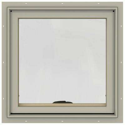 24 in. x 24 in. W-2500 Series Desert Sand Painted Clad Wood Awning Window w/ Natural Interior and Screen