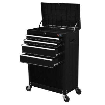 22 in. Ball Bearing Slide 4-Drawer Roller Cabinet Tool Chest in Black with Storage Compartment
