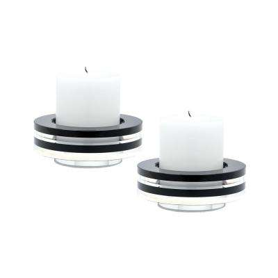 2 in. Tuxedo Round Crystal Candle Holders (Set of 2)