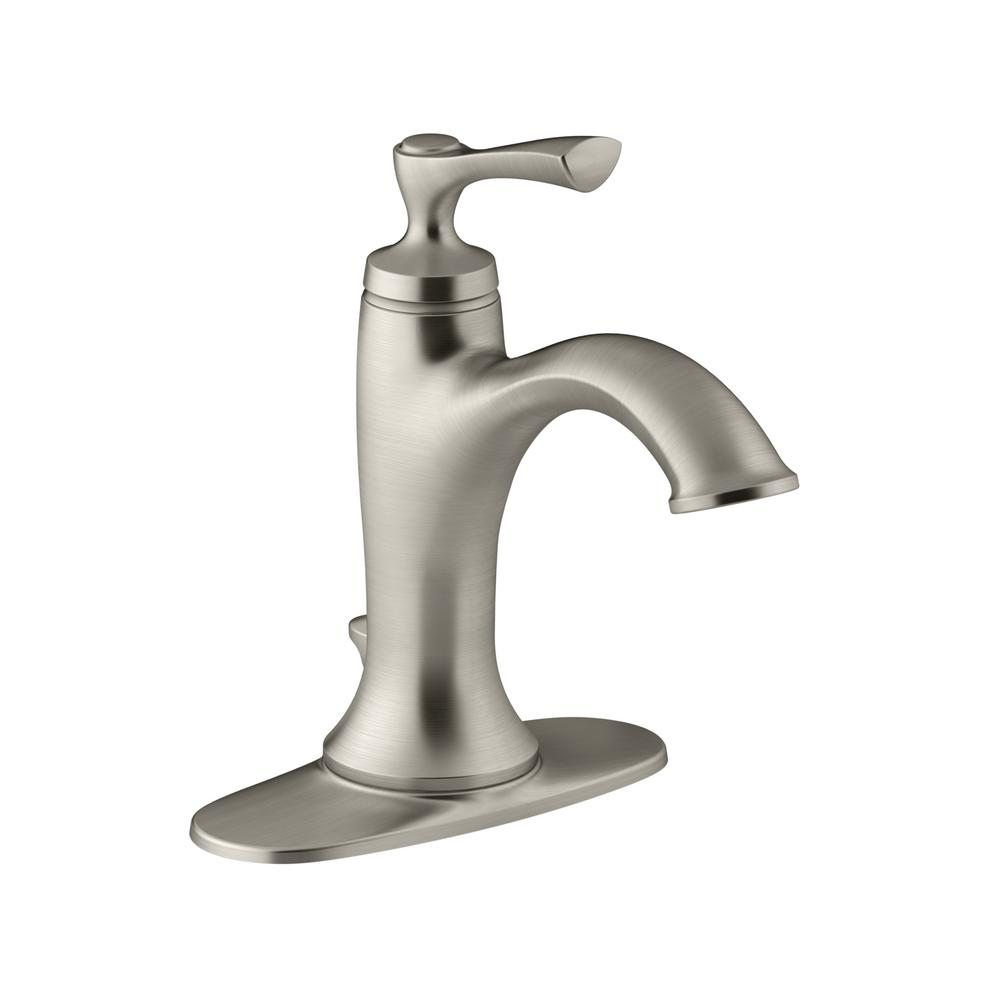 Kohler lavatory faucets Ada Compliant Kohler Elliston Single Hole Singlehandle Bathroom Faucet In Brushed Nickel The Home Depot Kohler Elliston Single Hole Singlehandle Bathroom Faucet In Brushed