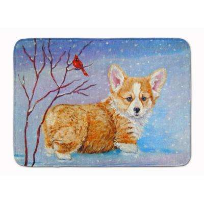 19 in. x 27 in. Corgi Pup Snow Cardinal Machine Washable Memory Foam Mat