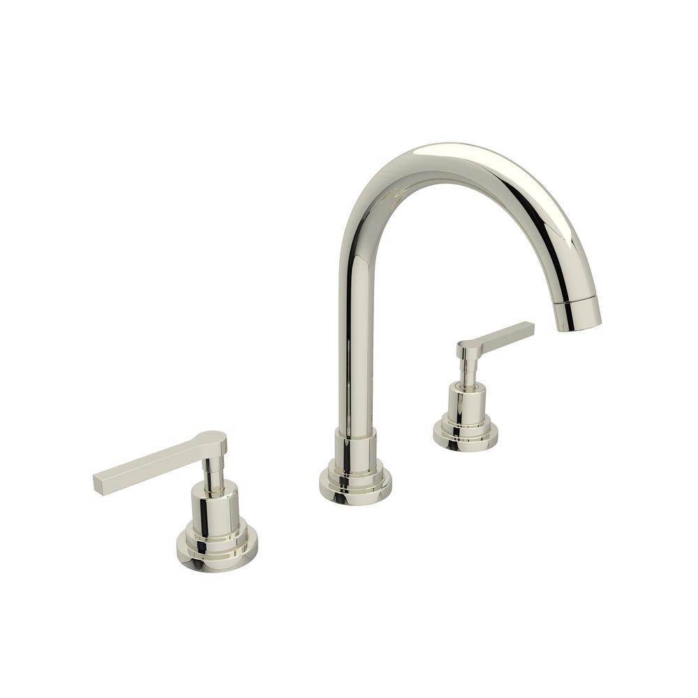 ROHL Lombardia 8 in. Widespread 2-Handle High-Arc Bathroom Faucet in Polished Nickel