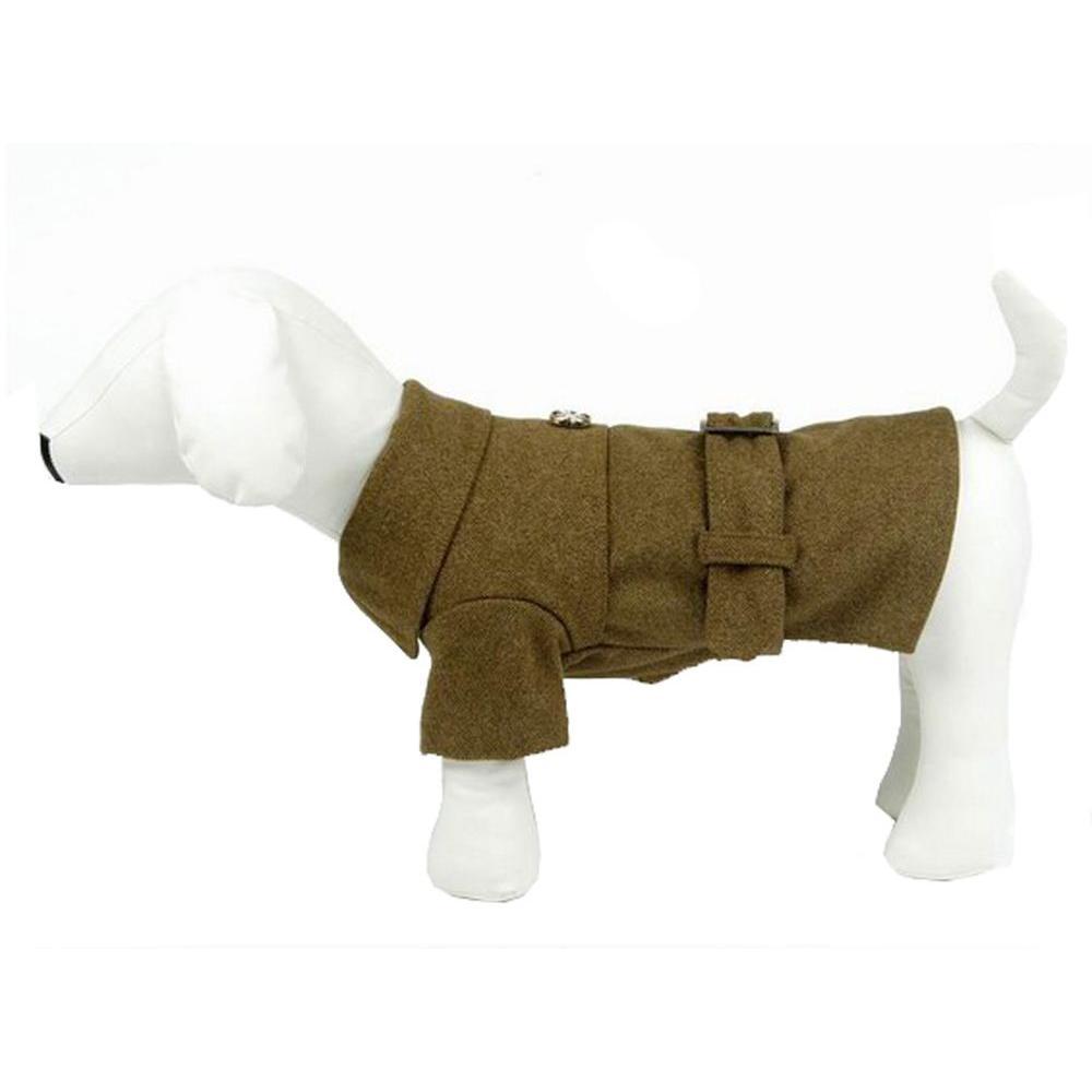 PET LIFE Medium Static Olive Green Galore Back-Buckled Fashion Wool Dog Coat