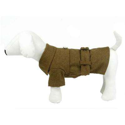 Medium Static Olive Green Galore Back-Buckled Fashion Wool Dog Coat