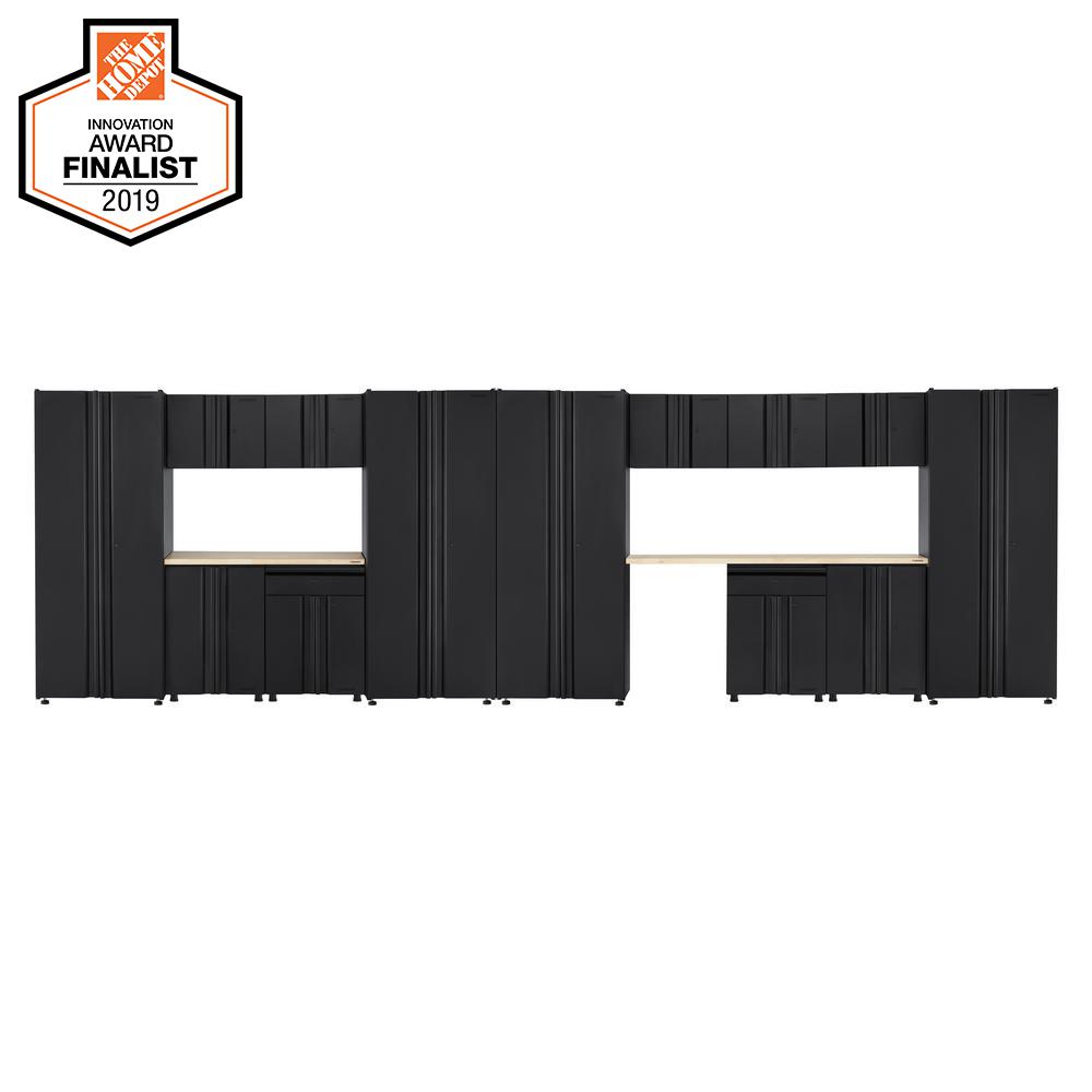 Husky Welded 242 in. W x 75 in. H x 19 in. D Steel Garage Cabinet Set in Black (15-Piece with Solid Wood Work Surface)