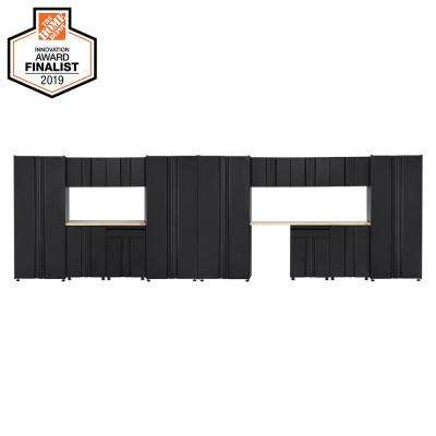 Welded 242 in. W x 75 in. H x 19 in. D Steel Garage Cabinet Set in Black (15-Piece with Solid Wood Work Surface)