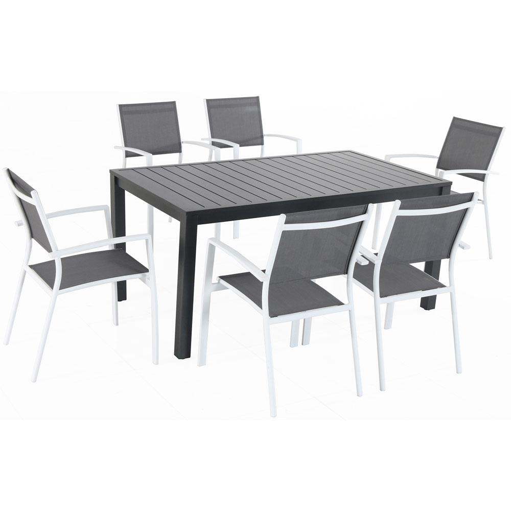Cambridge Nova 10-Piece Aluminum Outdoor Dining Set with 10-Sling Chairs in  Gray/White and a 103 in. x 10 in. Dining Table-NOVADNS10PC-WHT - The Home
