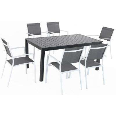 Nova 7-Piece Aluminum Outdoor Dining Set with 6-Sling Chairs in Gray/White and a 78 in. x 40 in. Dining Table