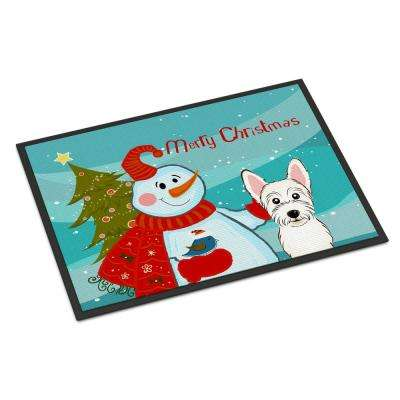 18 in. x 27 in. Indoor/Outdoor Snowman with Westie Door Mat