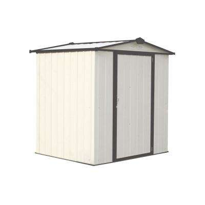 EZEE Shed 6 ft. x 5 ft. Galvanized Steel Cream/Charcoal Trim Low Gable