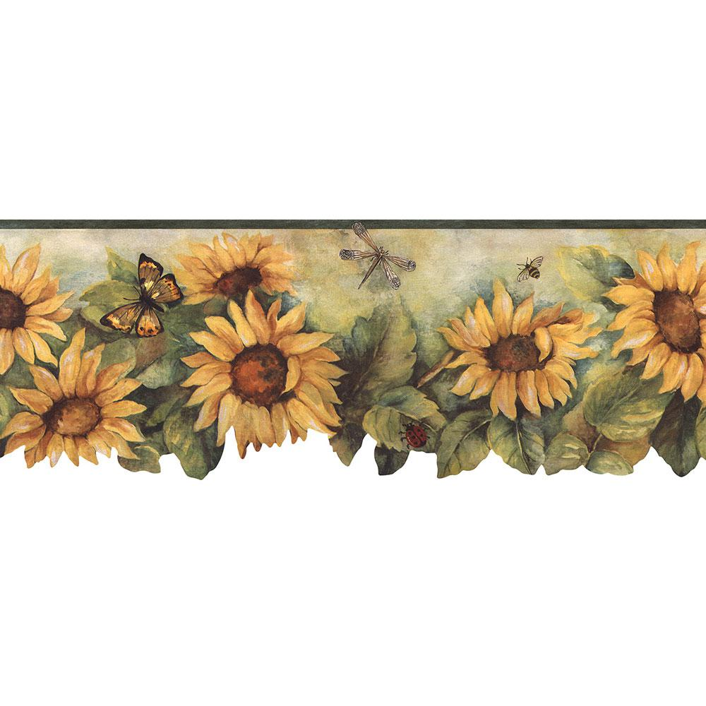 norwall die cut sunflower wallpaper border-bg71362dc - the home depot
