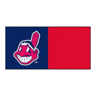 MLB - Cleveland Indians Navy Blue and Red Nylon 18 in. x 18 in. Carpet Tile (20 Tiles/Case)