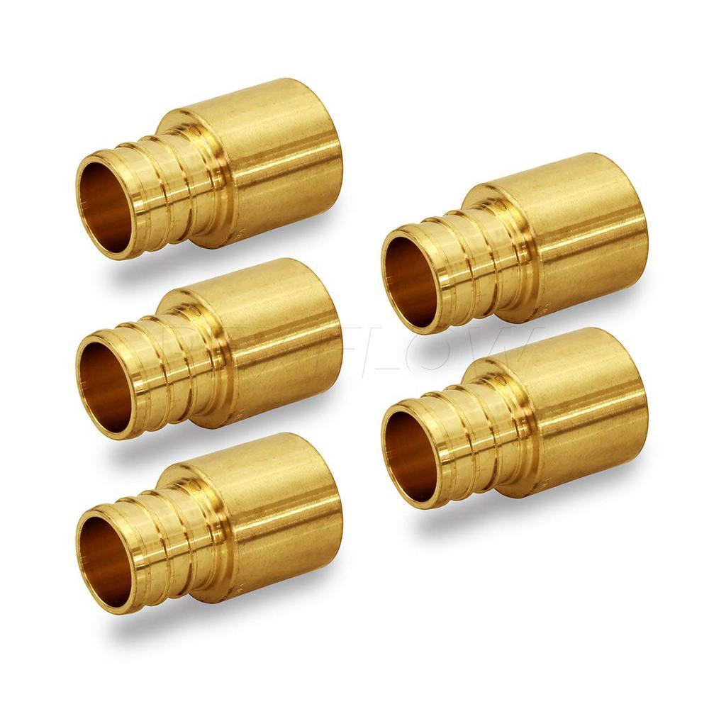 1/2 in. x 1/2 in. Brass Female Sweat Copper Adapter x Pex Barb Pipe Fitting (5-Pack)
