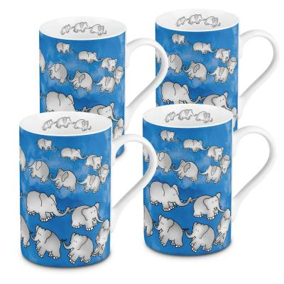 Konitz 4-Piece Chain of Elephants Blue Porcelain Mug Set