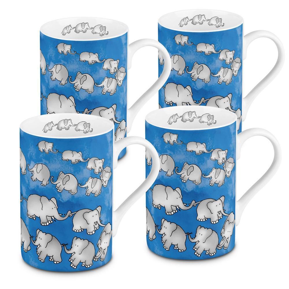 Konitz 4-Piece Chain of Elephants Blue Porcelain Mug Set