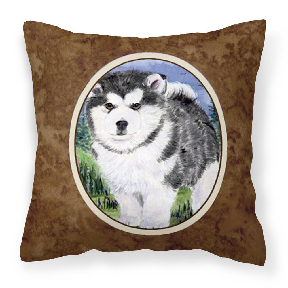 14 in. x 14 in. Multi-Color Lumbar Outdoor Throw Pillow Alaskan Malamute Decorative Canvas Fabric Pillow