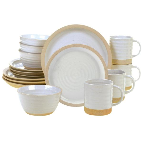 Artisan 16-Piece Traditional Cream Ceramic Dinnerware Set (Service for 4)