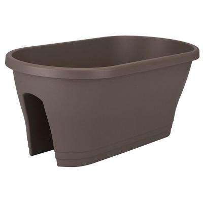 24 in. Oval Taupe Flower Bridge Plastic Planter