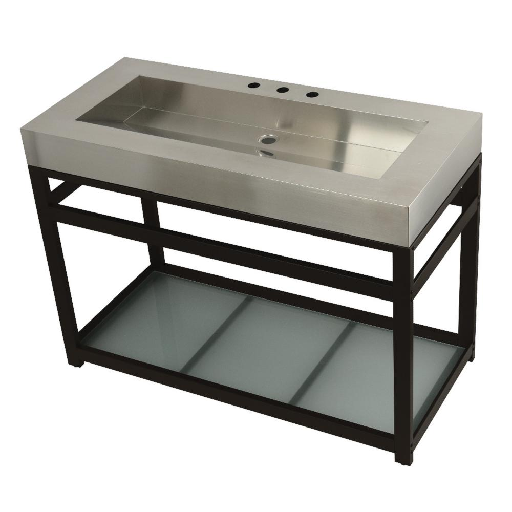 W Bath Vanity In Oil Rubbed Bronze With Stainless Steel Top Silver Basin