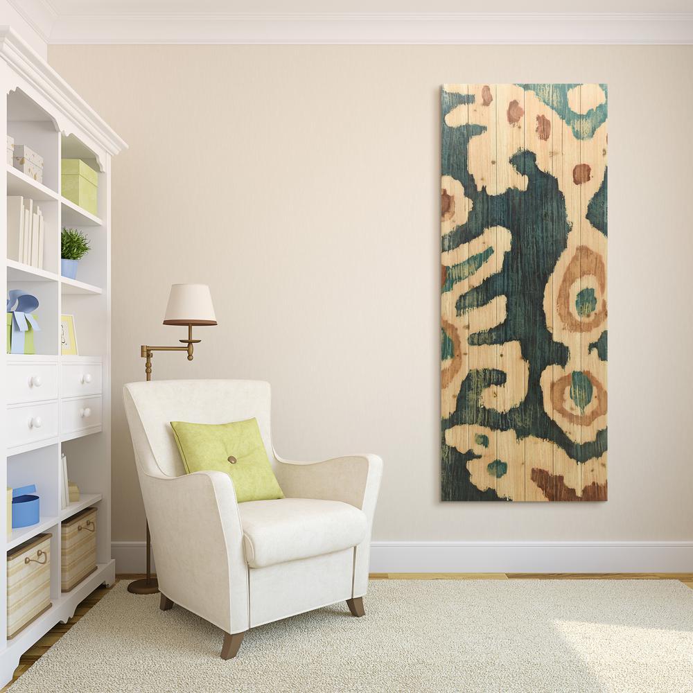 """60 in. x 24 in. """"Ocean Ikat B"""" Arte de Legno Digital Print on Solid Wood Wall Art"""