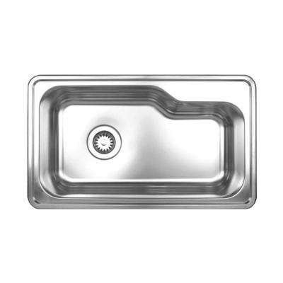 Noah's Collection Drop-In Stainless Steel 34 in. Single Bowl Kitchen Sink in Brushed Stainless Steel