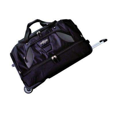30 in. 2-Section Black Drop-Bottom Rolling Duffel