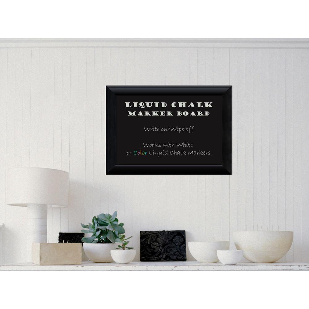 Amanti Art Nero Black Wood 28 inch W x 20 inch H Framed Liquid Chalk Marker... by Amanti Art