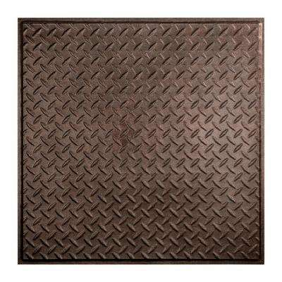 Diamond Plate - 2 ft. x 2 ft. Revealed Edge Lay-in Ceiling Tile in Smoked Pewter