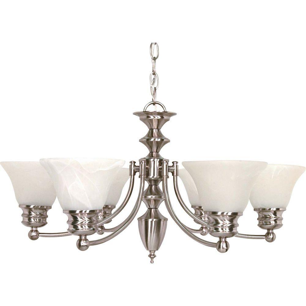 6-Light Ceiling Brushed Nickel Incandescent Chandelier
