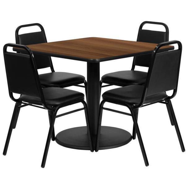 5-Piece Walnut Top/Black Vinyl Seat Table and Chair Set