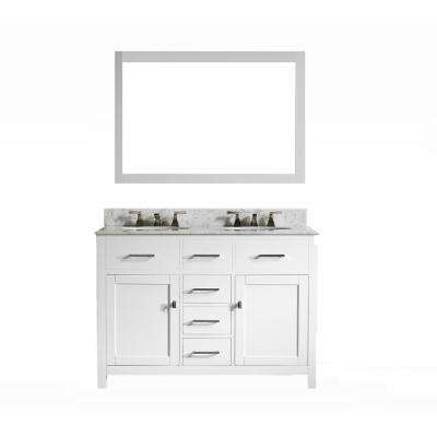 San Clemente 48 in. Vanity in White with Italian Carrara Marble Vanity Top in White with White Basin and Mirror
