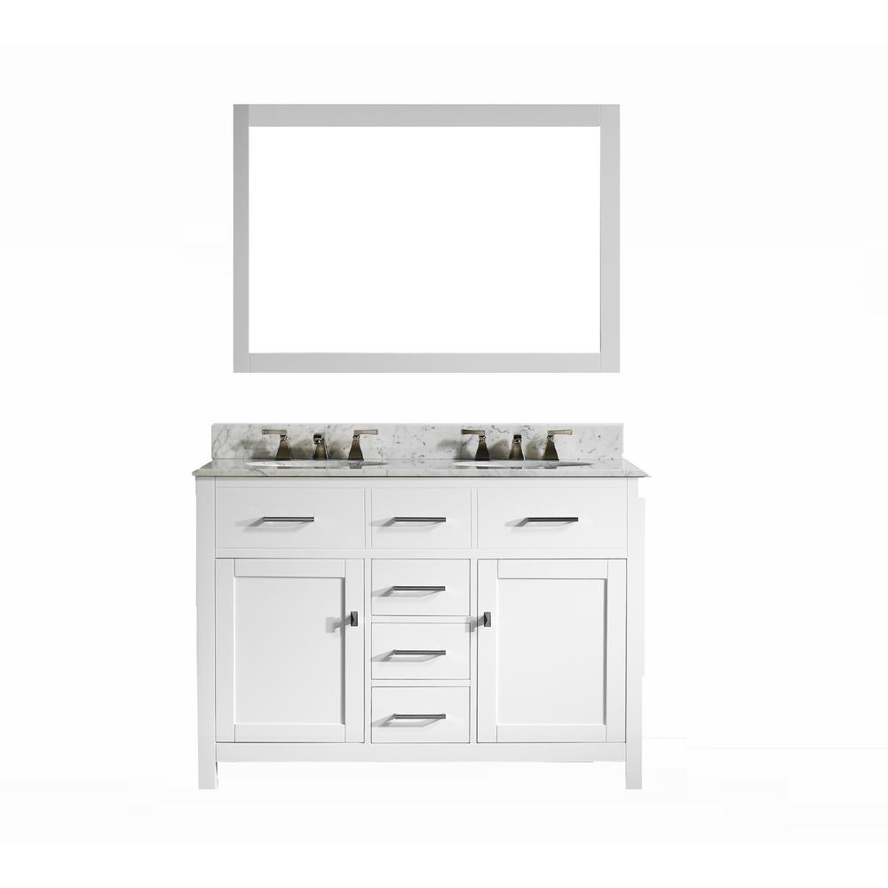 Vanity In White With Italian Carrara Marble Top