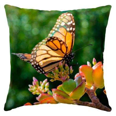 Monarch Butterfly Square Outdoor Throw Pillow