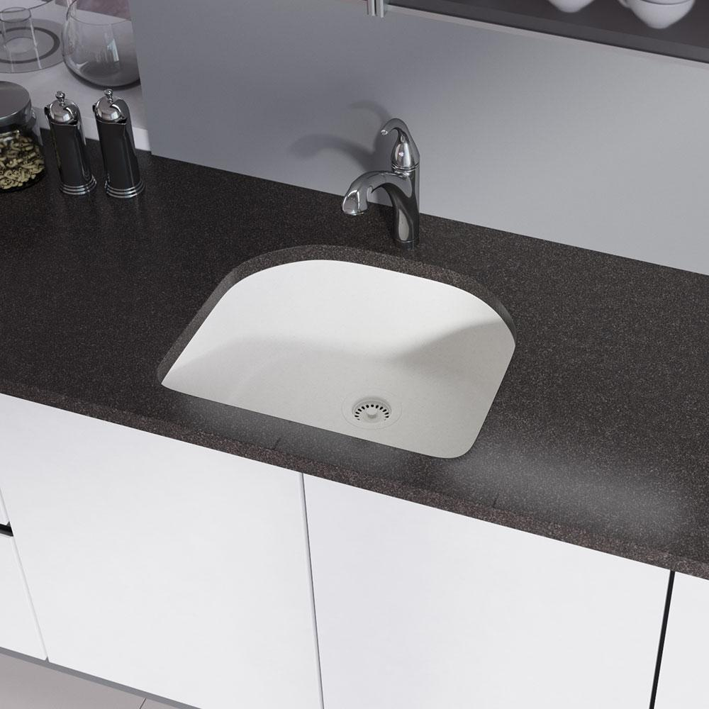 Rene Undermount Composite Granite 24-3/4 in. Single Bowl Kitchen Sink in  Ivory