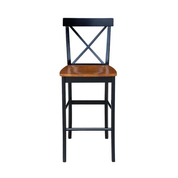 X Back 30 in. Black and Cherry Bar Stool