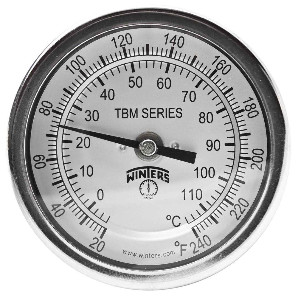 TBM Series 2 in. Dial Thermometer with Fixed Center Back Connection