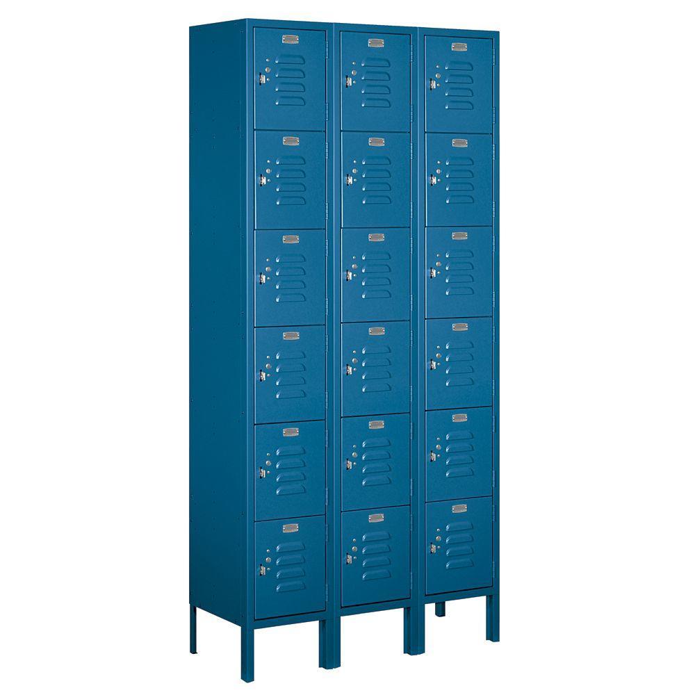 66000 Series 36 in. W x 78 in. H x 12 in. D 6-Tier Box Style Metal Locker Unassembled in Blue