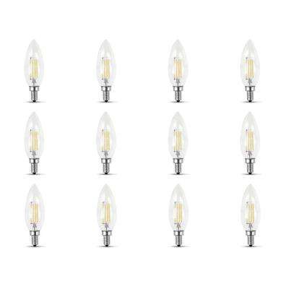 40-Watt Equivalent (2700K) B10 Candelabra Dimmable Filament LED Clear Glass Light Bulb, Soft White (Case of 12)