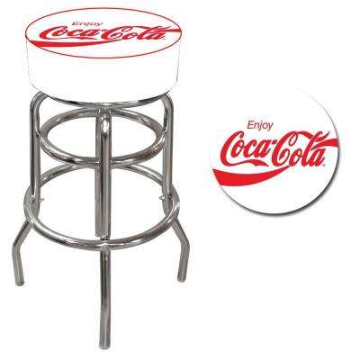 Enjoy Coke 31 in. Chrome Swivel Cushioned Bar Stool
