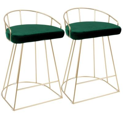 Canary Contemporary Gold with Green Counter Stool in Velvet (Set of 2)