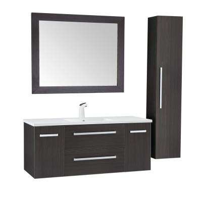 Conques 48 in. W x 20 in. H Bath Vanity in Rich Umber with Ceramic Vanity Top in White with White Basin and Mirror