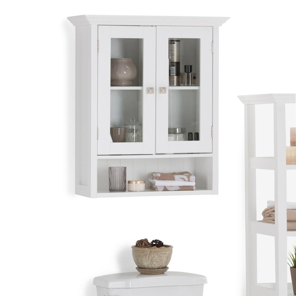 Simpli Home Acadian 23.6 in. W Wall Mounted Cabinet with 2 Doors in ...