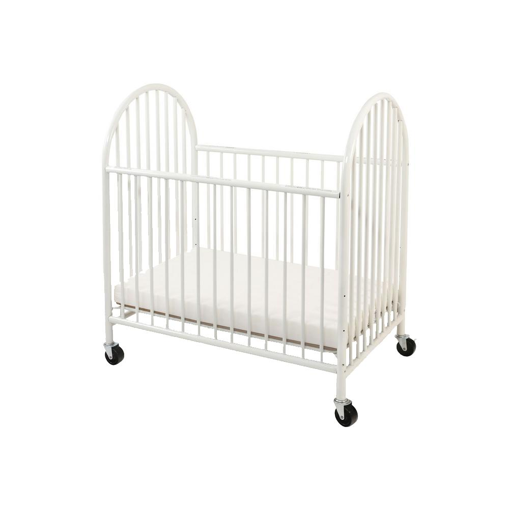 White and Black Slatted Metal Crib with Casters and Arched End Panel