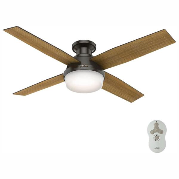 Dempsey 52 in. Low Profile LED Indoor Noble Bronze Ceiling Fan with Light