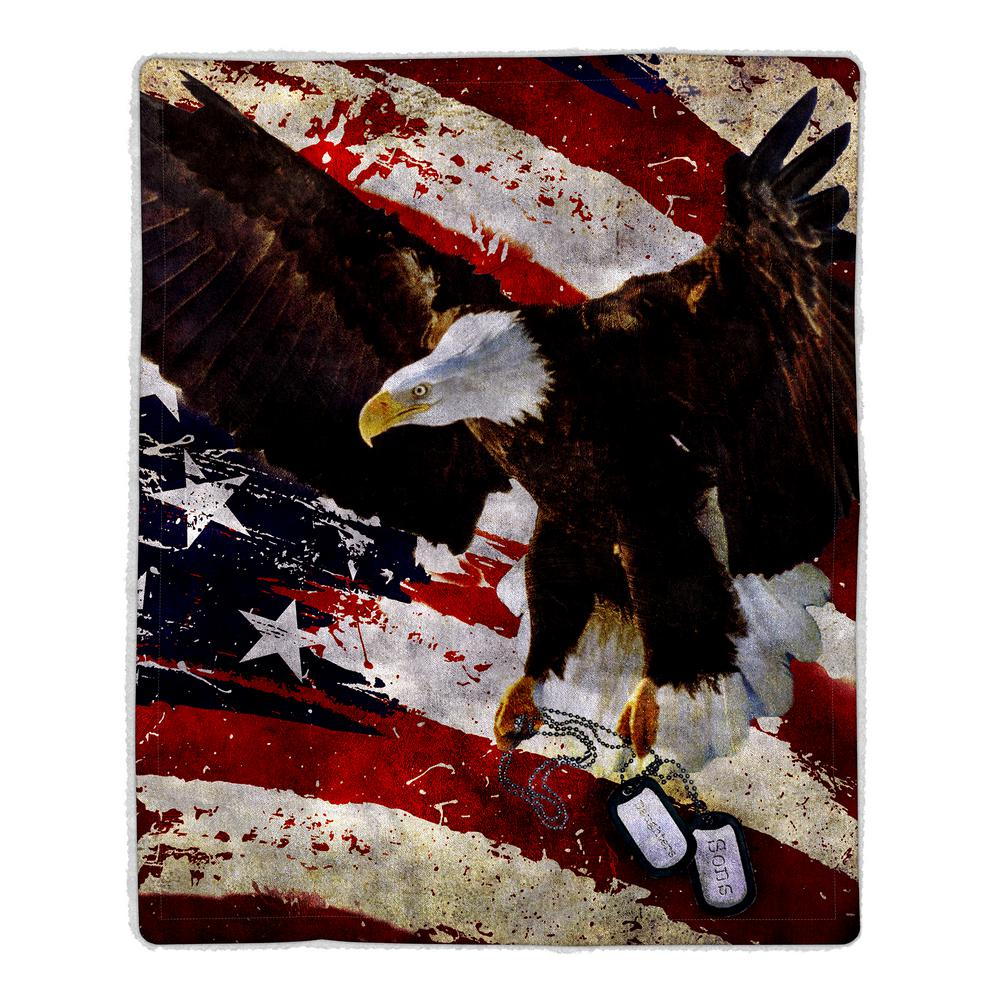 lavish home american flag bald eagle print sherpa fleece blanket 64 eagle the home depot. Black Bedroom Furniture Sets. Home Design Ideas
