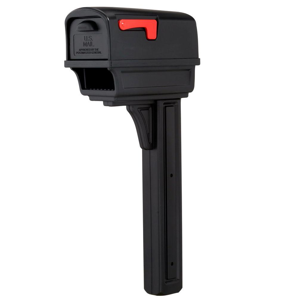 Rubbermaid Gentry All-in-One Plastic Mailbox and Post Combo, Black