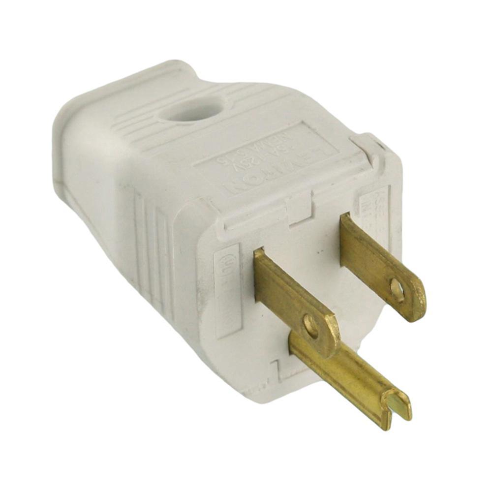 Leviton 10 Amp 2-Pole Straight Blade Plug, White-R52-00123