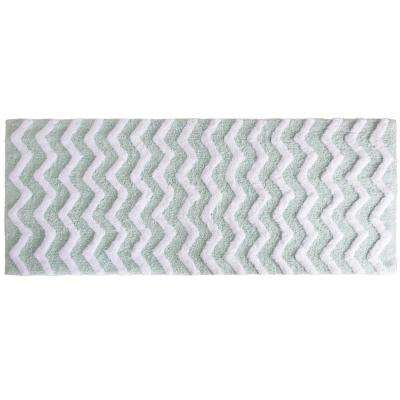 Chevron Seafoam 24 in. x 60 in. Bathroom Mat