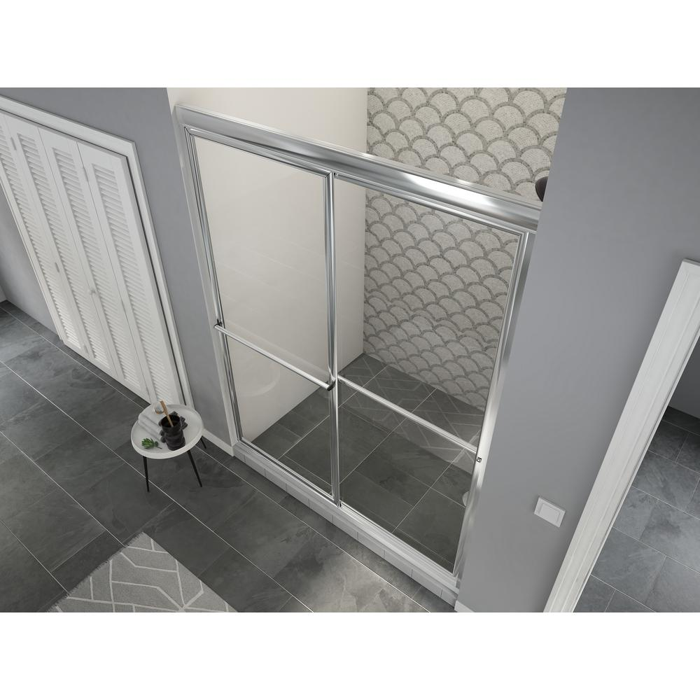 Coastal Shower Doors Newport 52 in. to 53.625 in. x 70 in. Framed Sliding Shower Door with Towel Bar in Chrome and Clear Glass